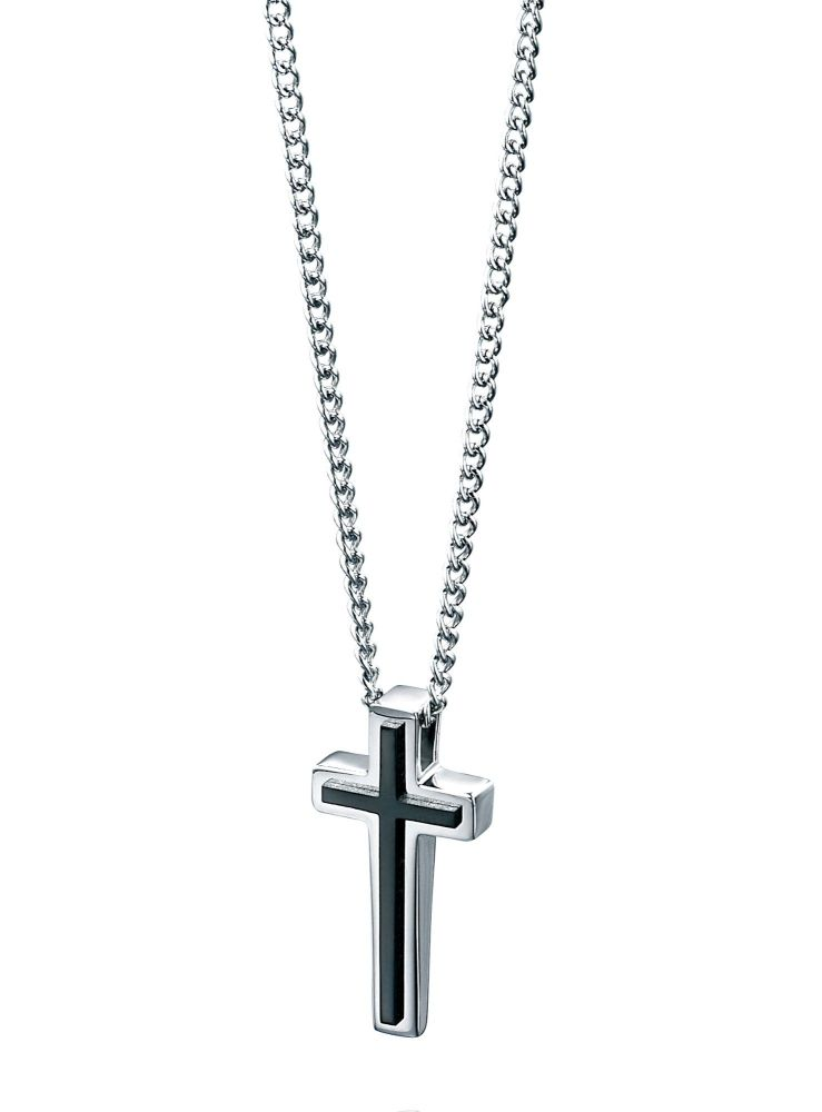 MEN'S STEEL CROSS AND CHAIN WITH BLACK DETAIL