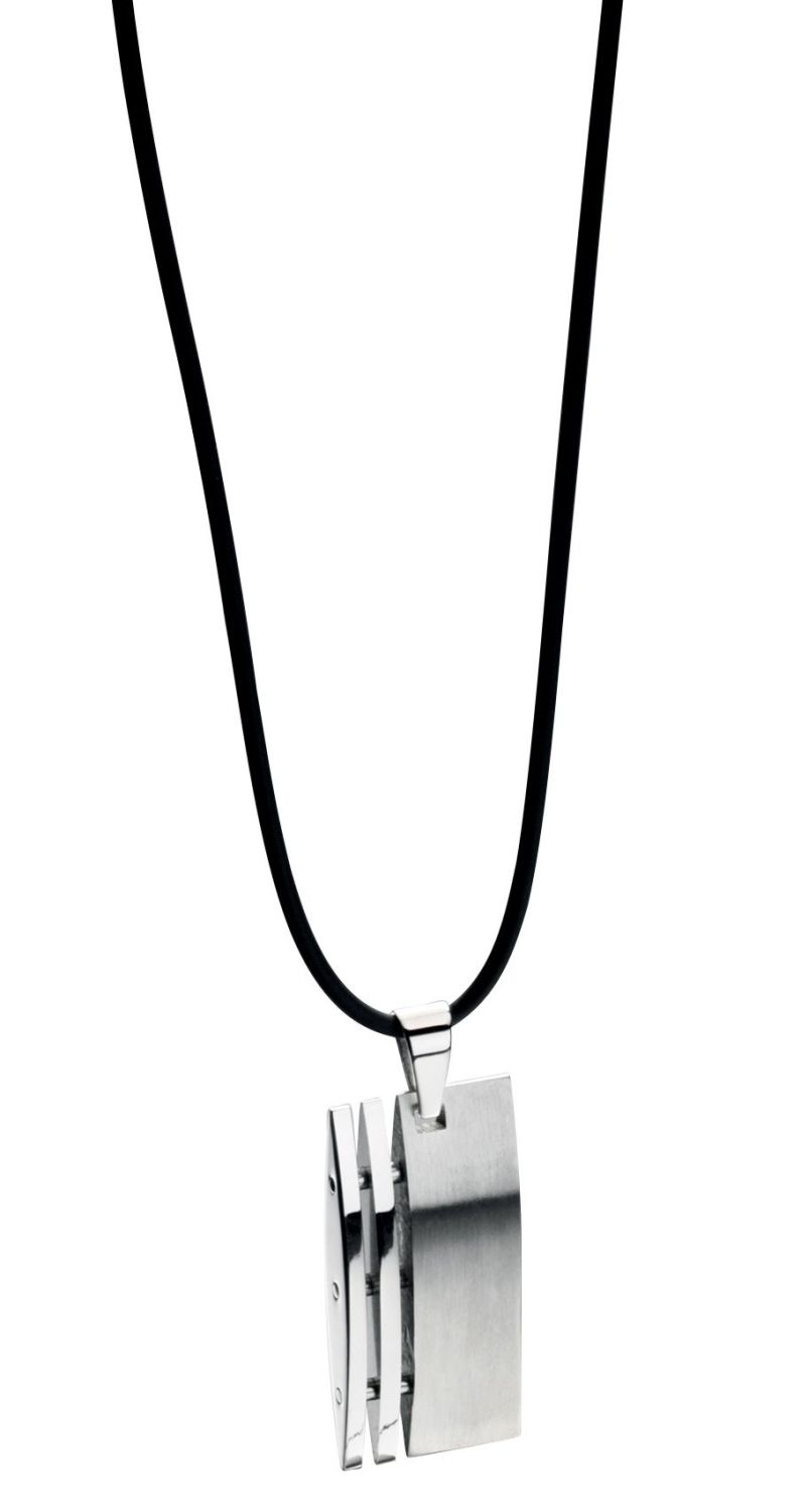 RECTANGULAR STEEL AND SILICON DOG TAG NECKLACE