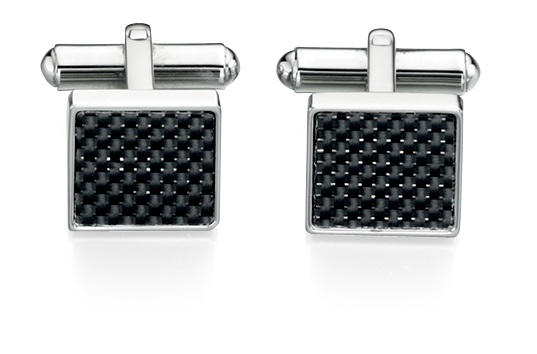 SQUARE BLACK CARBON FIBRE AND STEEL CUFF LINKS