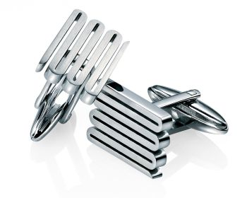 STAINLESS STEEL ZIG ZAG CUFFLINKS