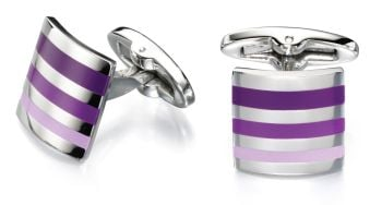PURPLE STRIPE CUFFLINKS IN STAINLESS STEEL
