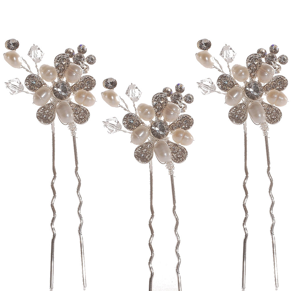 BOUQUET HAIR PINS SET THREE