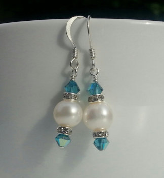TEAL CRYSTAL AND PEARL DROP EARRINGS