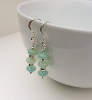 PALE MINT AND SILVER STICK EARRINGS