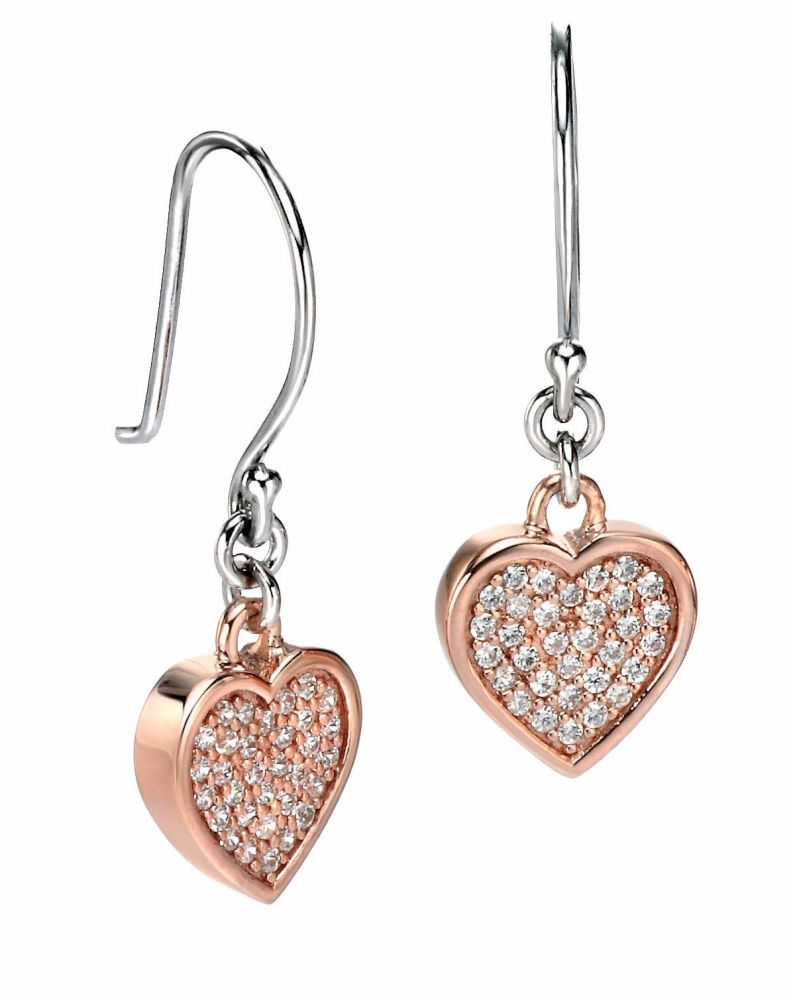 ROSY HEART DANGLE EARRINGS