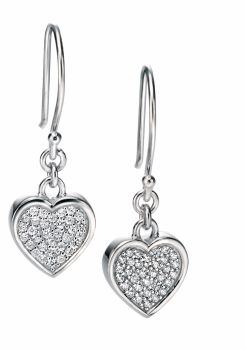 CRYSTAL HEART EARRINGS SILVER