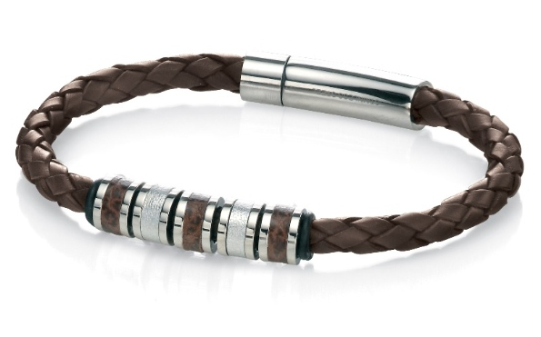 b4209 mens brown leather and steel bracelet