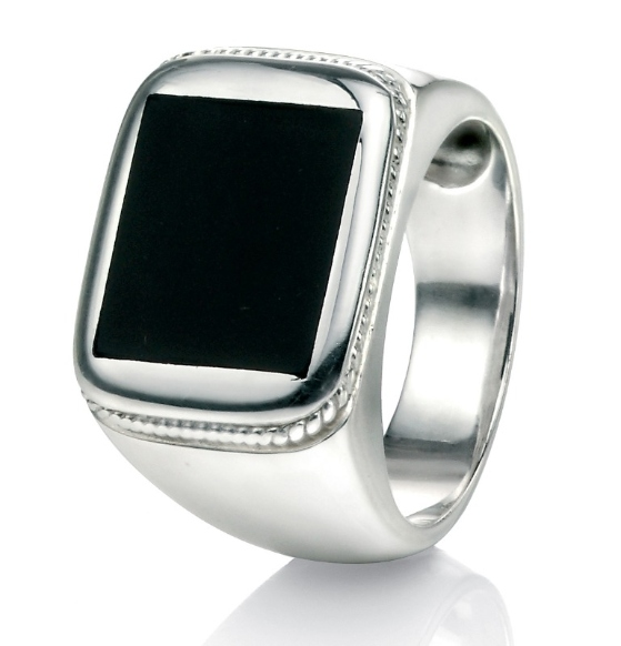 r3241 sterling sil. and black agate sygnet ring 6062646770