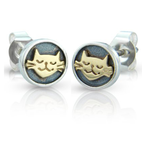 Smiling cat earrings with 9ct detail by Nick Hubbard