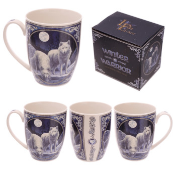 white artic wolves artwork by Lisa Parker on bone china. dishwasher safe