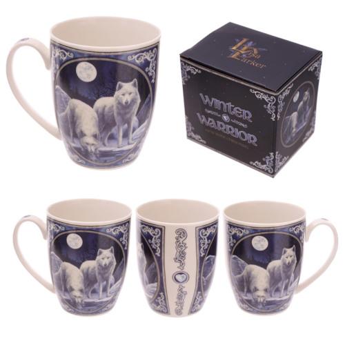 white artic wolves artwork by Lisa Parker on bone china. dishwasher safe