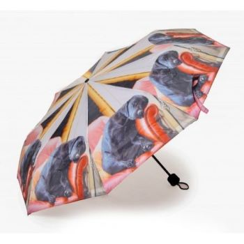sleep lab, black labardor umbrella fold up style.
