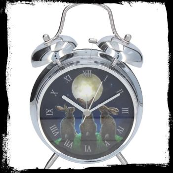 Alarm clock with working bell ringer Moon shadows in silver case available 11th september