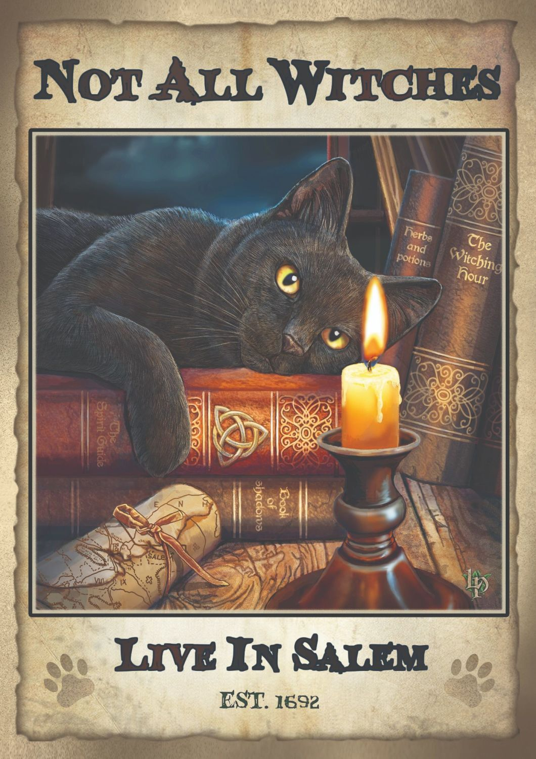 Witching hour signed print Not all witches live in Salem 70 x50 cm