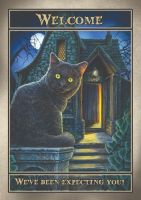 Welcome A2 signed Lisa Parker print featuring spooky witches house