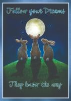 moon gazing hare signed print by Lisa Parker A2 size.
