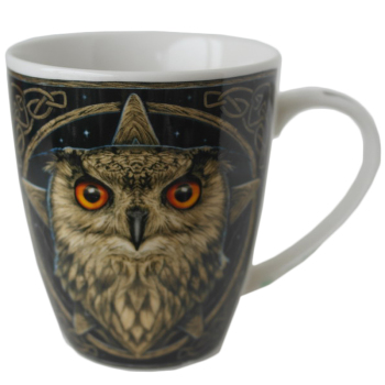wise one owl bone china mug by Lisa Parker in stock 19th June