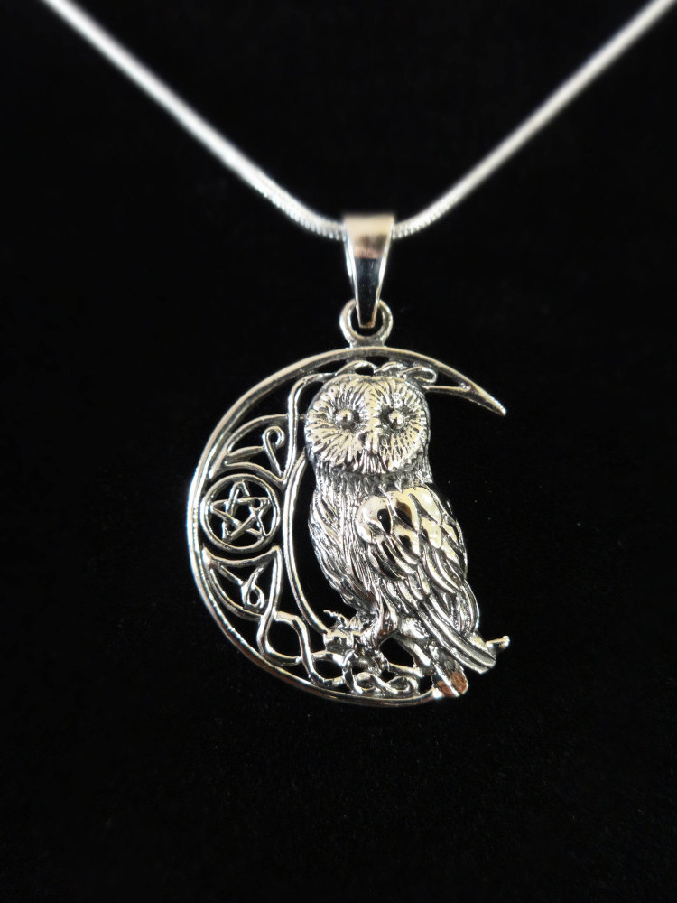sterling silver owl on moon