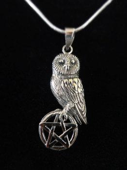 sterling silver owl on pentagram