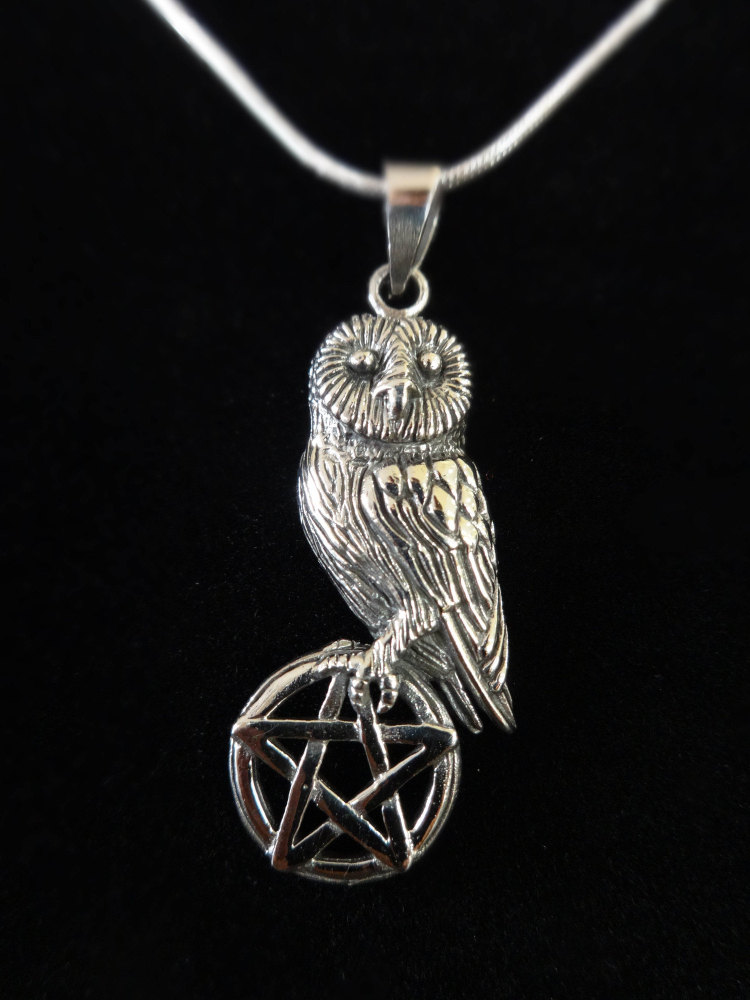 sterling silver owl on pentagram