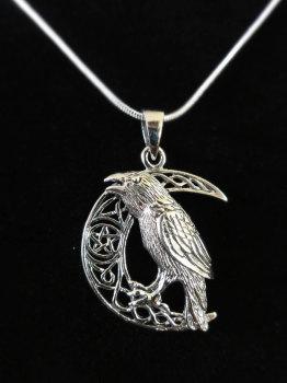 sterling silver raven moon pendant