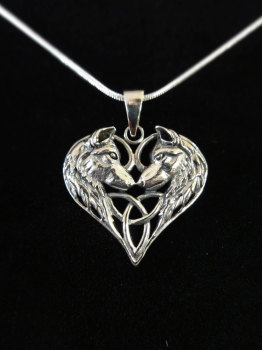 sterling silver wolf heart pendant pre order 30th June