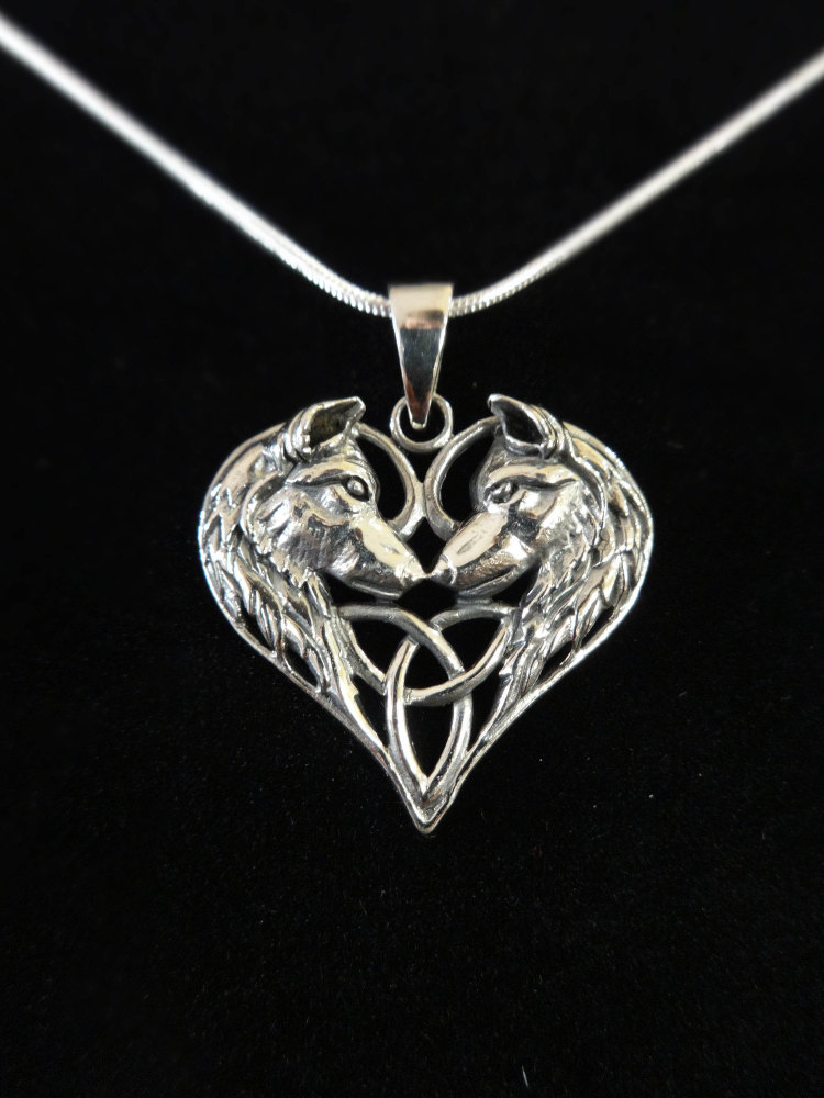 sterling silver wolf heart pendant