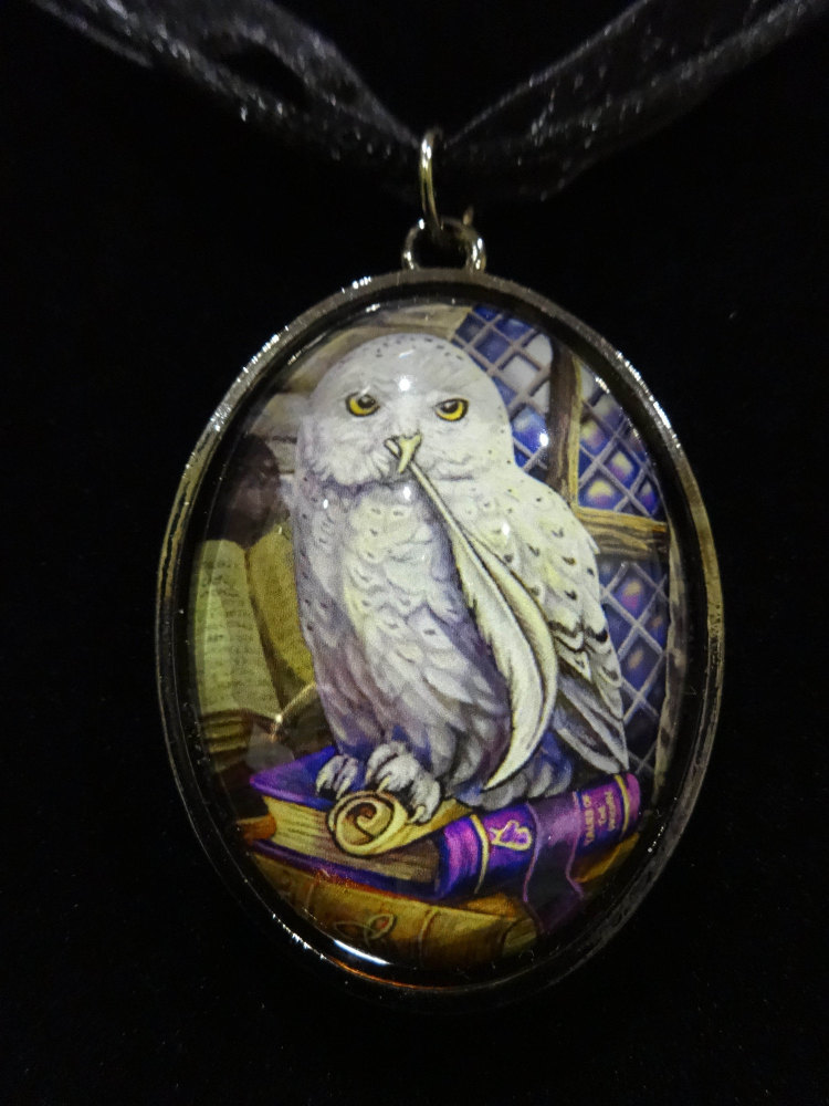 snowy owl glass pendant with 18 inch black cord