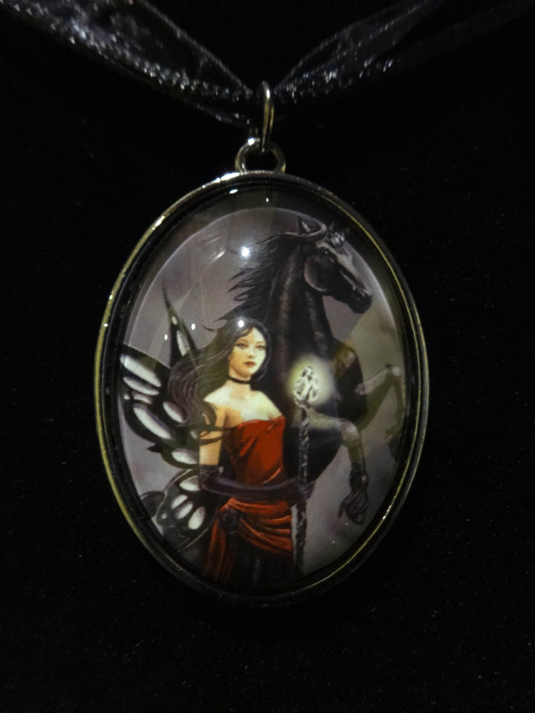 defenders of the realm glass pendant with 18 inch black cord