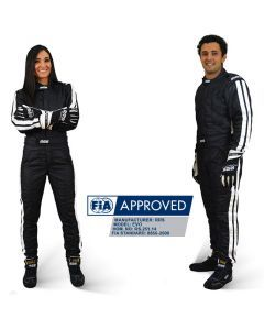 RRS Diamond FIA race suit - Black Logo White