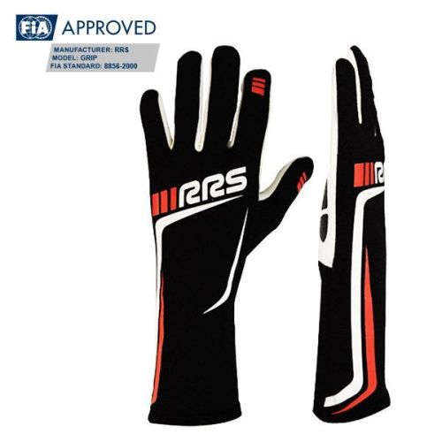 RRS GRIP 3 FIA racing gloves - Black logo RED