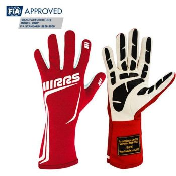 RRS GRIP 3 FIA racing gloves - RED logo WHITE