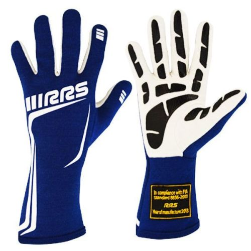 RRS GRIP 3 FIA racing gloves - BLUE logo WHITE