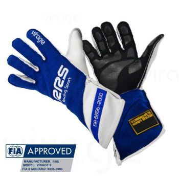 Racing Gloves RRS Virage2 FIA - Blue Logo White