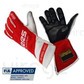 Racing Gloves RRS Virage2 FIA - Red Logo White