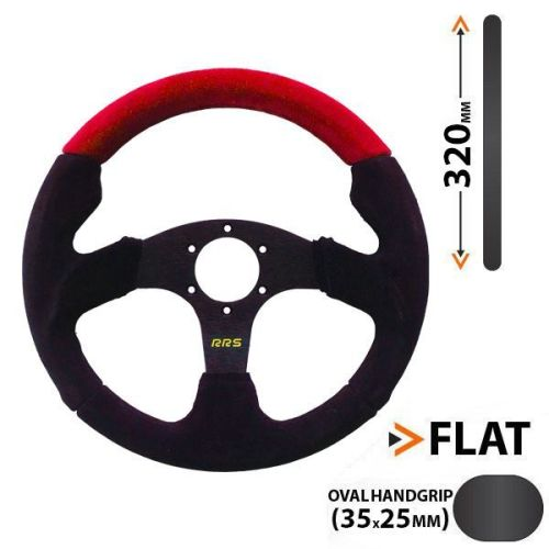 RRS flat steering wheel 3 spokes - RED - 320 mm