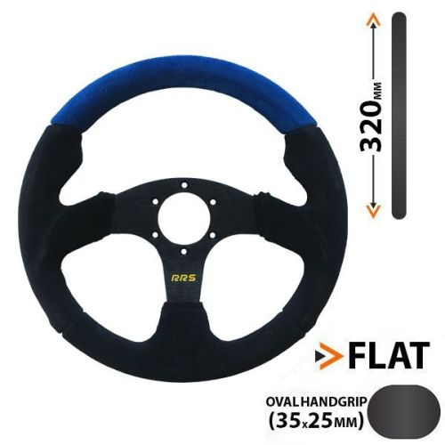 RRS flat steering wheel 3 spokes - BLUE - 320 mm