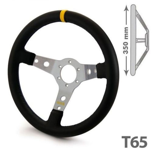 RRS artificial leather 350mm 65 3 aluminium/silver dished spokes steering w