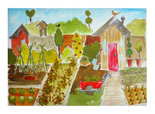 the allotment  ink on watercolour board