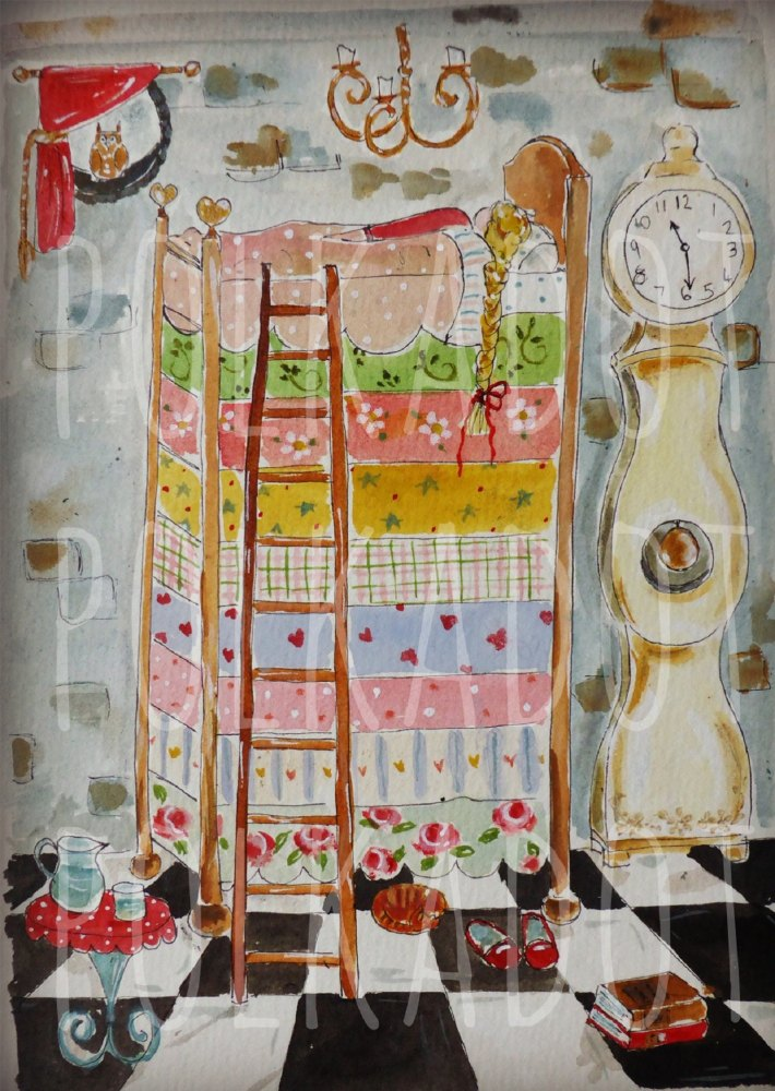 princess & the pea ink on watercolour board
