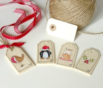 wooden gift tags, Christmas