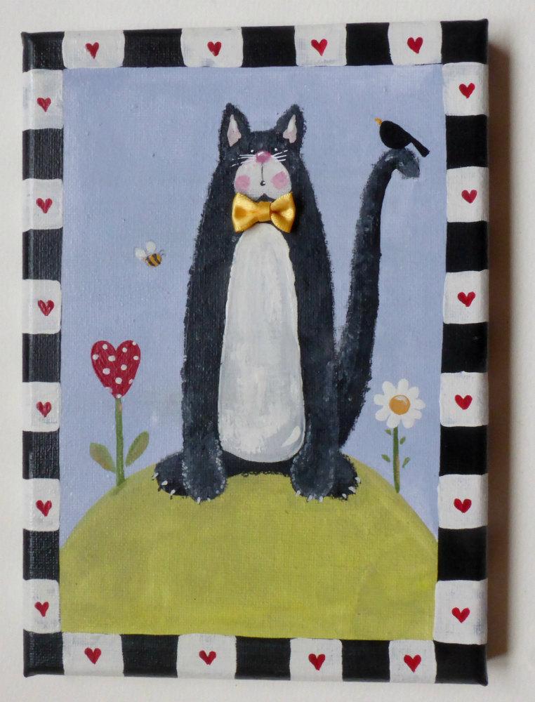 black cat mini canvas