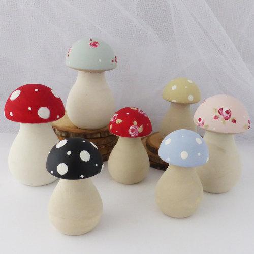 wooden toadstools