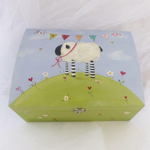 keepsake box, domed box, sheep design