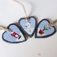 mini slate painting - hearts