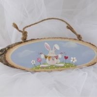 Spring bunny tree slice - large