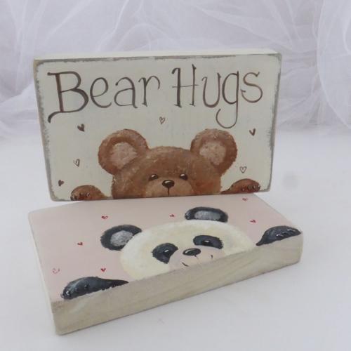 mini chunky oblong sign - teddy bear