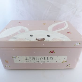 large 'peeping bunny, Teddy, Panda' Keepsake box