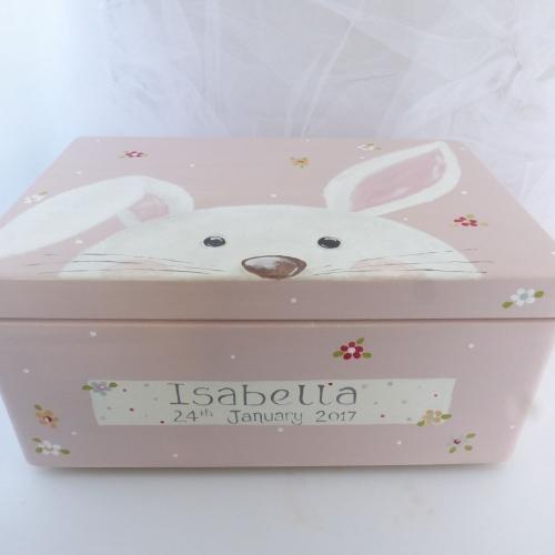 large 'peeping bunny, Teddy, Panda' Keepsake box