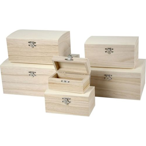 set of domed wooden boxes